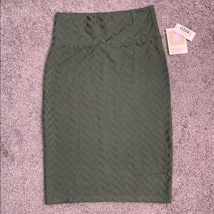LuLaRoe dark green patterned Cassie skirt S NWT
